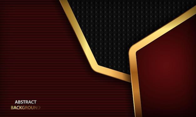 Zwarte en rode luxe papier stijl achtergrond met gouden lijnen elegant concept