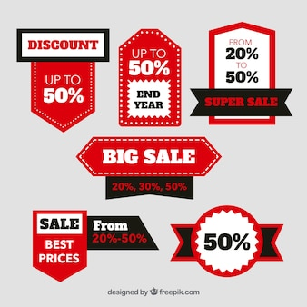 Zwarte en rode verkoop label collectie