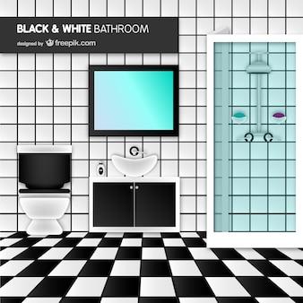 Zwarte en witte badkamer vector