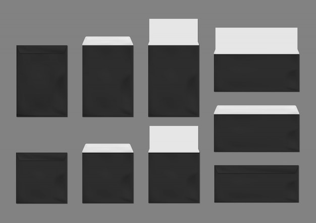 Zwarte enveloppen sjabloon set. blanco papieren omslagen