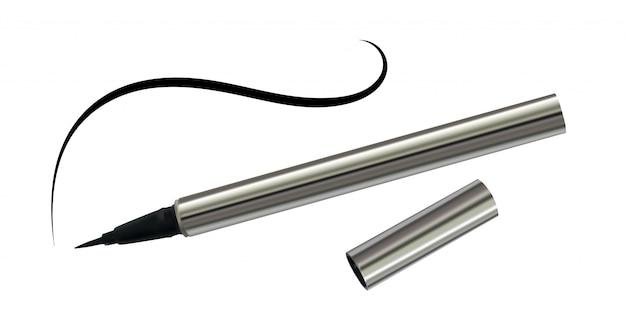 Zwarte eyeliner in een chromen behuizing met dunne lijn geïsoleerd