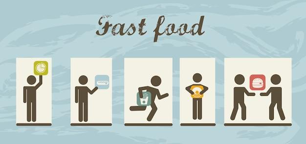 Zwarte fastfood pictogrammen over grungebackground vector