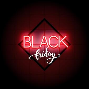 Zwarte firday verkoop neon tekst en kalligrafische letters