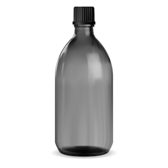 Zwarte fles. glazen medische pot. siroop flacon