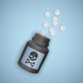 Zwarte fles met giftige pillen, een fles toont een schedel met gekruiste beenderen