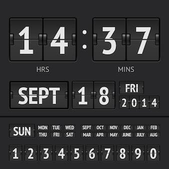 Zwarte flip scorebord digitale timer met datum en tijd van de week