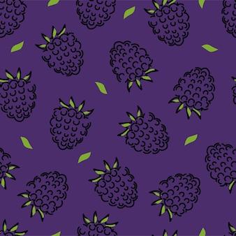 Zwarte framboos en bladeren naadloos patroon. vectorachtergrond.