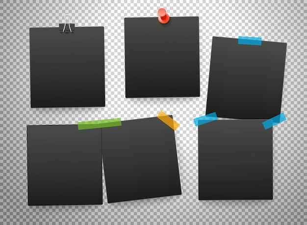 Zwarte frames geïsoleerd op transparante achtergrond. vectormodel