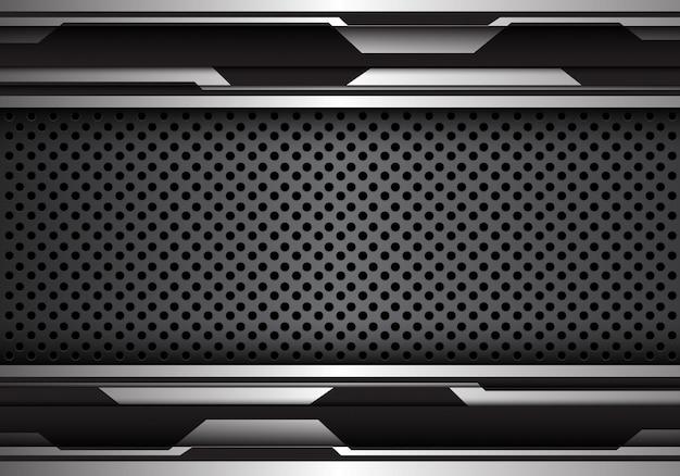 Zwarte futuristische metalen cirkel mesh patroon technische achtergrond.