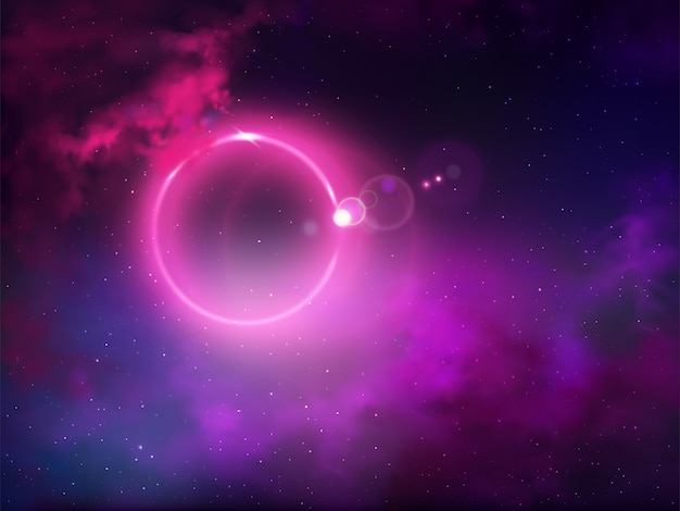 Zwarte gat evenement horizon outer view realistische vector abstracte achtergrond. lichte anomalie of verduistering, gloeiende fluorescerende lichtring met violette halo in sterrige nachthemel met wolkenillustratie
