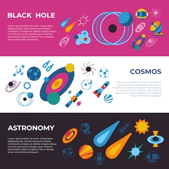 Zwarte gaten en kosmos pictogrammen