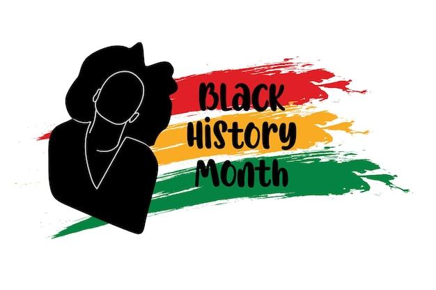 Zwarte geschiedenis maand banner zwarte vrouw silhouet met afrikaanse vlag achtergrond