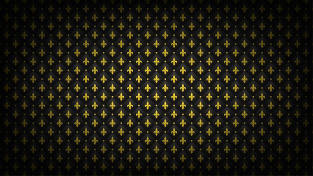 Zwarte gewatteerde achtergrond met gouden fleur-de-lis-symbool. luxe royal behang.