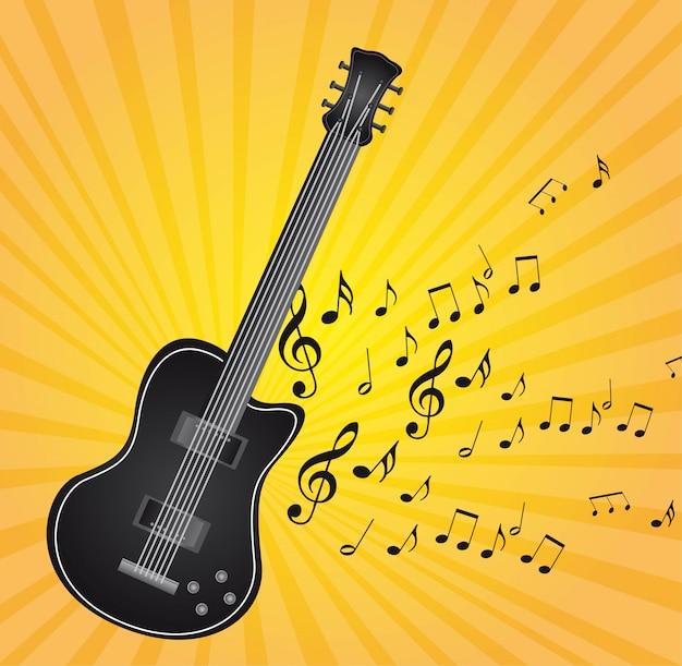 Zwarte gitaar met muzieknota's over gele vector als achtergrond