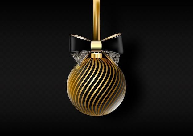 Zwarte glanzende kerst achtergrond met kerstbal, illustratie.