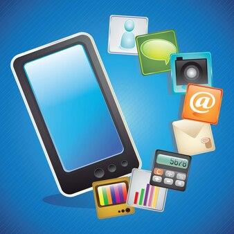 Zwarte glanzende stijl gadget tablet-pad illustratie