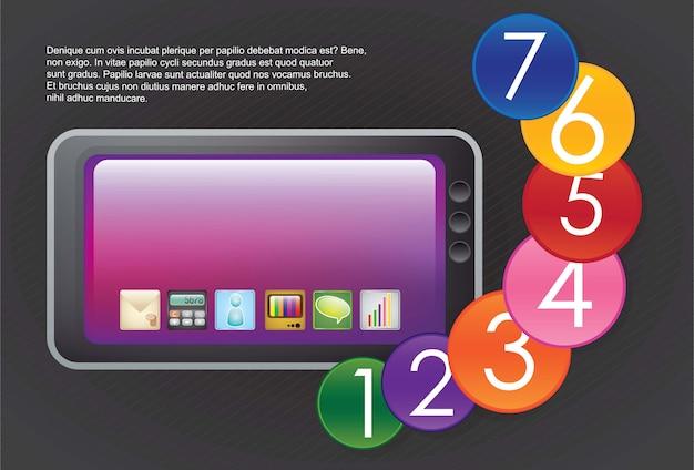 Zwarte glossy tablet kleurrijke nummers stappen