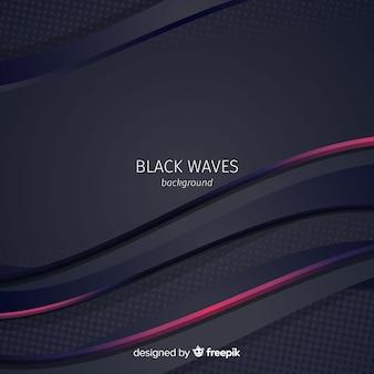 Zwarte golvenachtergrond met halftone effect
