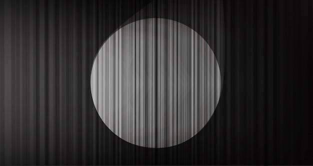 Zwarte gordijnachtergrond met stadiumlicht