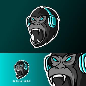 Zwarte gorilla aap aap mascotte gaming sport esport logo sjabloon met oortelefoon
