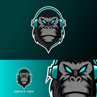 Zwarte gorilla aap aap mascotte sport esport logo sjabloon met oortelefoon