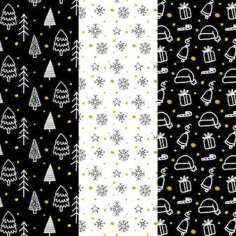 Zwarte & gouden kerst patroon collectie
