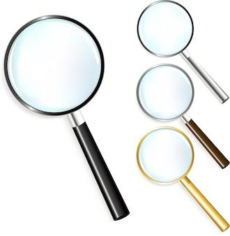 Zwarte, gouden, zilveren en bruine magnifers
