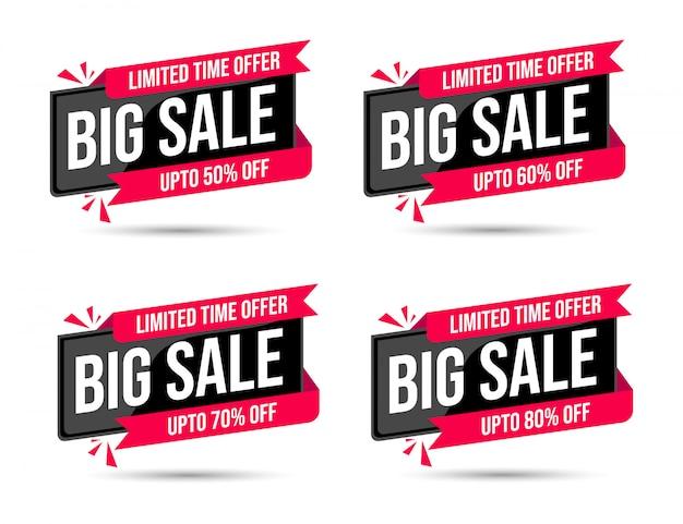Zwarte grote 3d verkoop speciale tijdelijke aanbieding procent korting banner