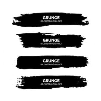 Zwarte grunge penseelstreek banners sjabloon