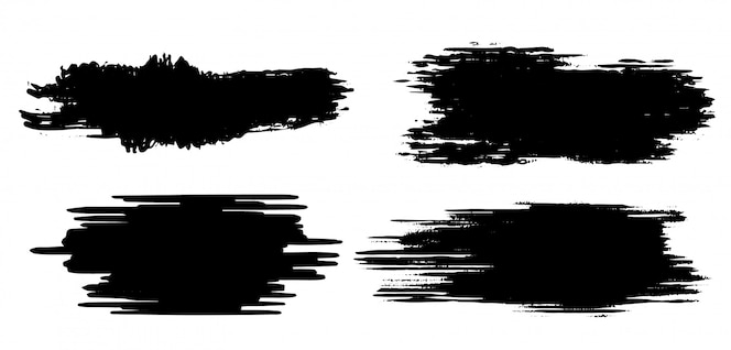 Zwarte grunge penseelstreek sjabloon