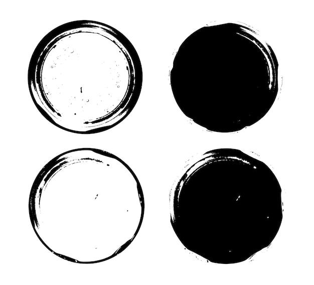 Zwarte grunge ronde frames instellen