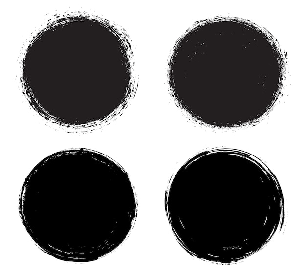 Zwarte grunge vuile ronde frames