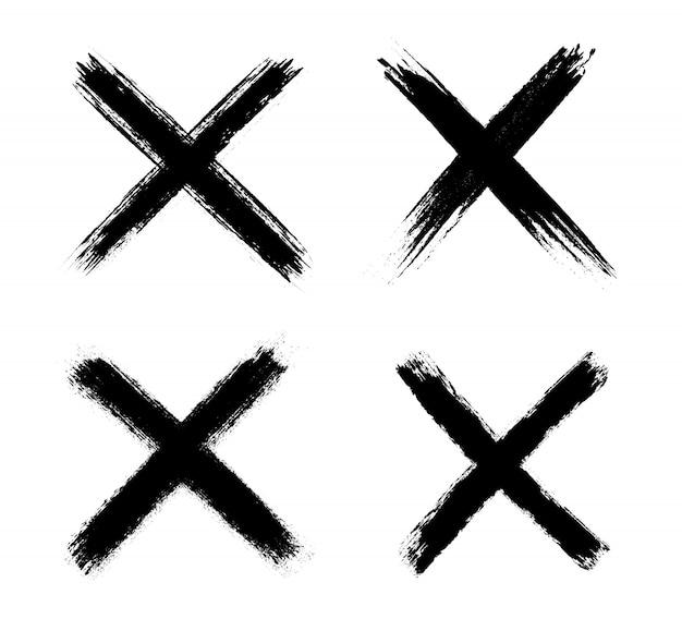 Zwarte grunge x-markeringen