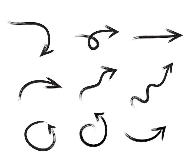 Zwarte hand getrokken penseelstreek pijl set geïsoleerd op wit. vectpr illustratie