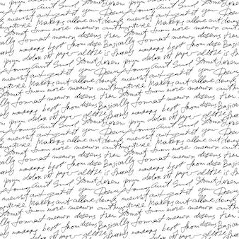Zwarte handgeschreven tekst op witte herhalingsachtergrond.