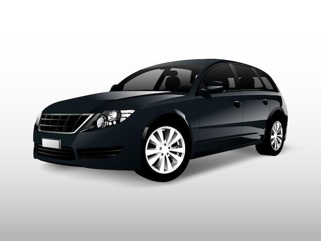 Zwarte hatchbackauto die op witte vector wordt geïsoleerd