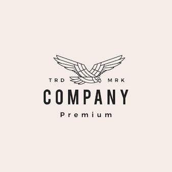 Zwarte havik vliegen brullen hipster vintage logo vector pictogram illustratie