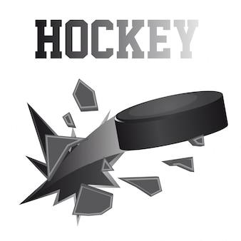 Zwarte hockey puck brokes geïsoleerde vectorillustratie