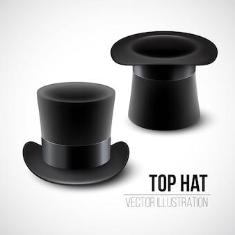 Zwarte hoge hoed illustratie geïsoleerd op een witte achtergrond