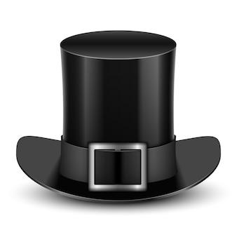 Zwarte hoge hoed met metalen gesp