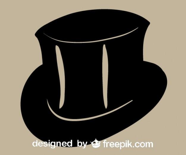 Zwarte hoge hoed vector icon