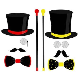 Zwarte hoge hoed, vlinderdas, monocle en snor. modieuze vectorillustratie op witte achtergrond voor cadeaubon, certificaat, banner, logo.
