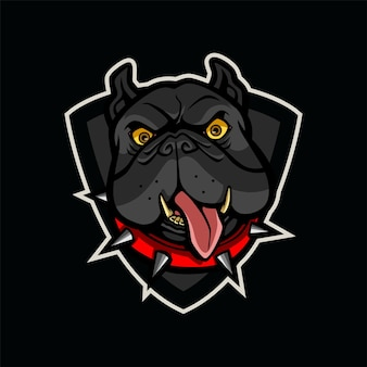Zwarte hond mascotte logo afbeelding