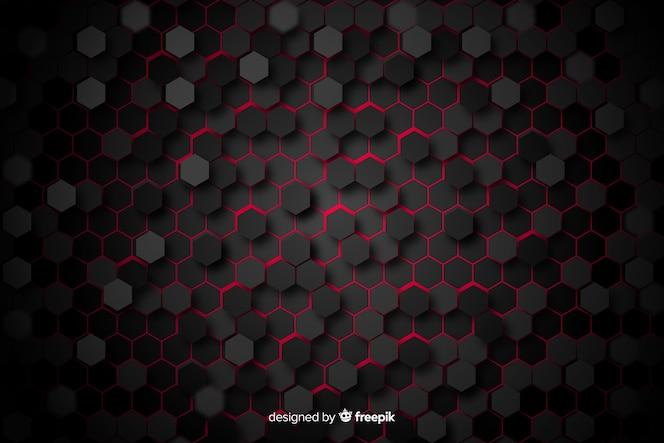 Zwarte honingraat met rood licht tussen cellen