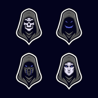 Zwarte hoodie met alternatieve gezichtsversie mascot logo set