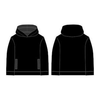 Zwarte hoodie voor kinderen. technische schets hoody.