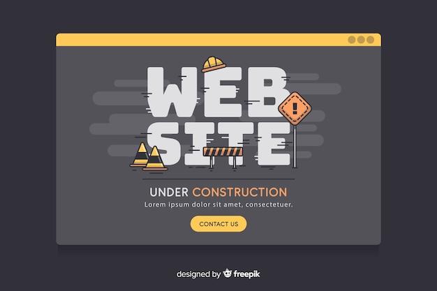 Zwarte in aanbouw vlakke website
