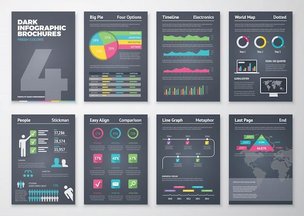 Zwarte infografische sjablonen in brochure stijl