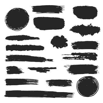 Zwarte inkt penseelstreek set, zwarte uitstrijkje collectie, grunge en modderig effect