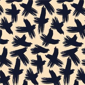 Zwarte inkt penseelstreken patroon sjabloon